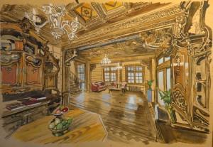Russian style room Maria Barkovskaya